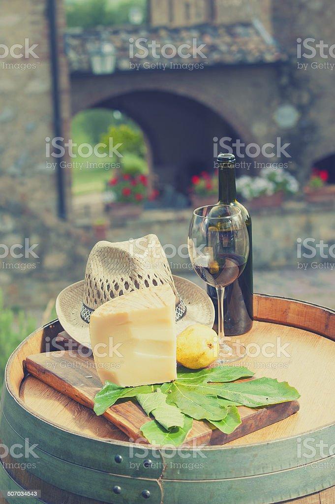 Red wine, pecorino cheese and pear, Italian snack stock photo