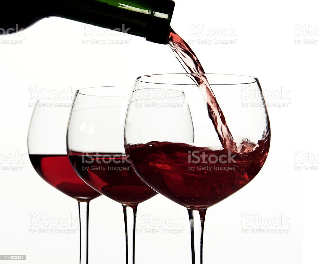 Red wine, Pouring royalty-free stock photo