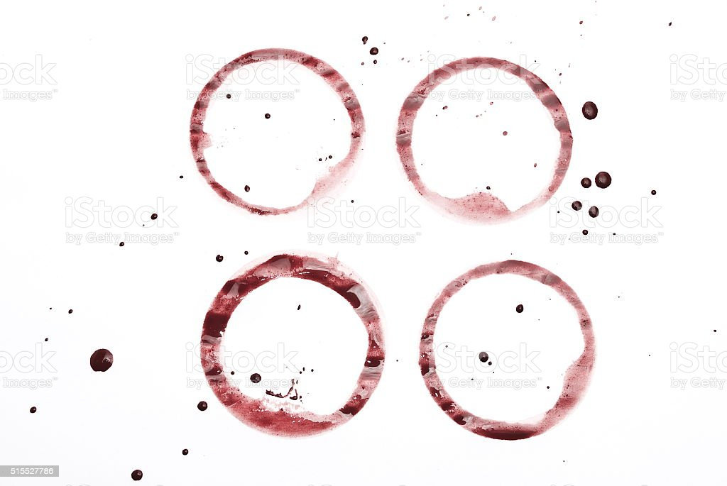 Red wine ring stains stock photo