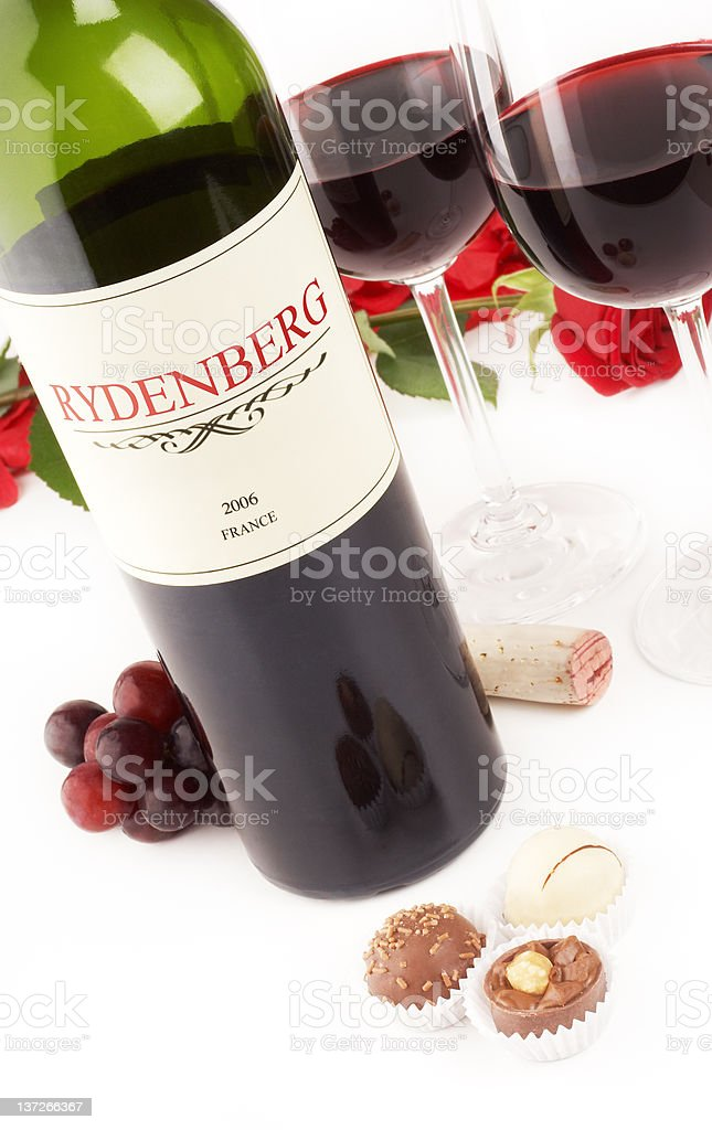 Red wine, roses and chocolate royalty-free stock photo