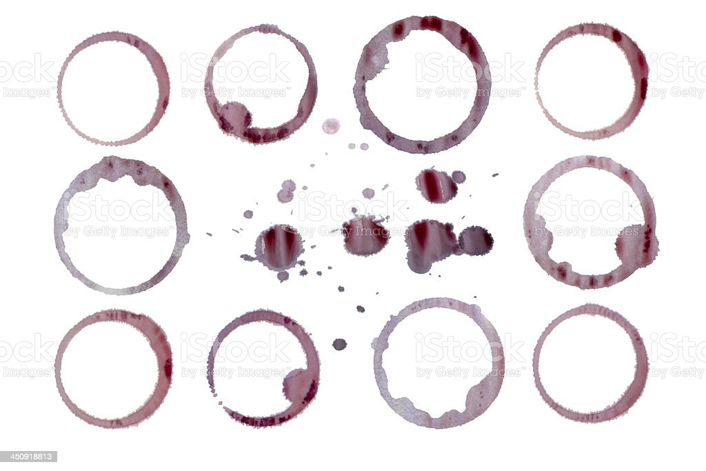 Red wine stains isolated. Clipping paths stock photo