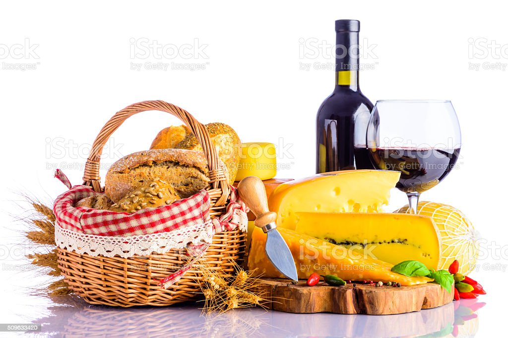Red Wine, Swiss Cheese and Bread stock photo