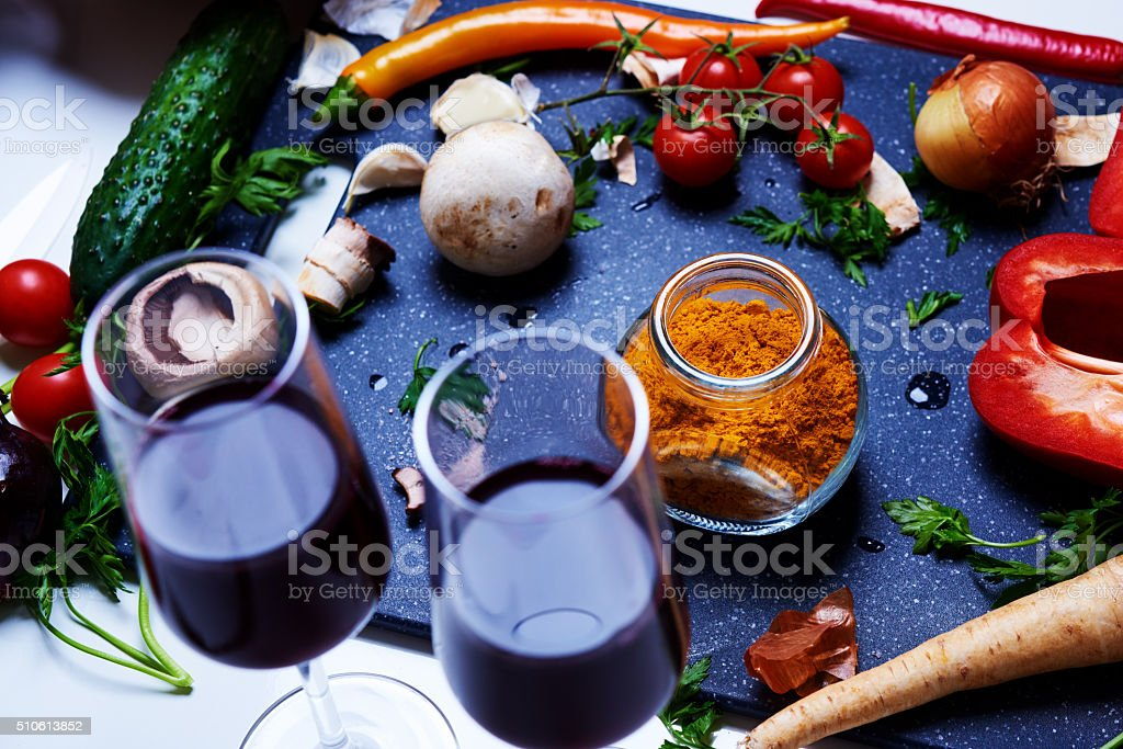 red wine, turmeric powder and fresh vegetables stock photo