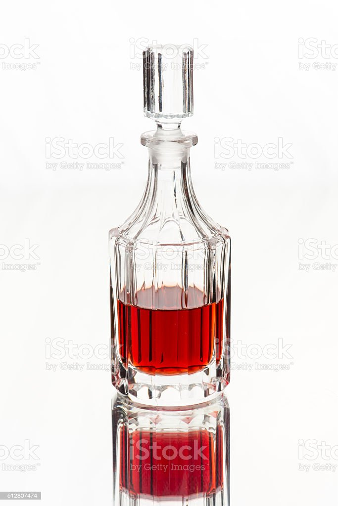 Red wine vinegar bottle for dining table stock photo