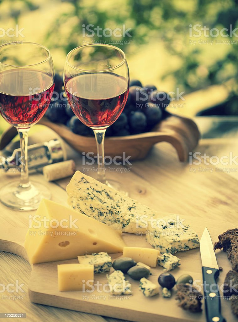 Red wine whit bread, olives and cheese stock photo