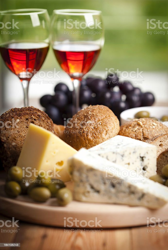 Red wine whit cheese and olives stock photo