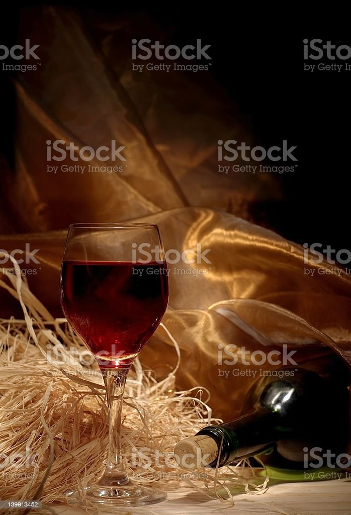 Red wine with bottle still life royalty-free stock photo