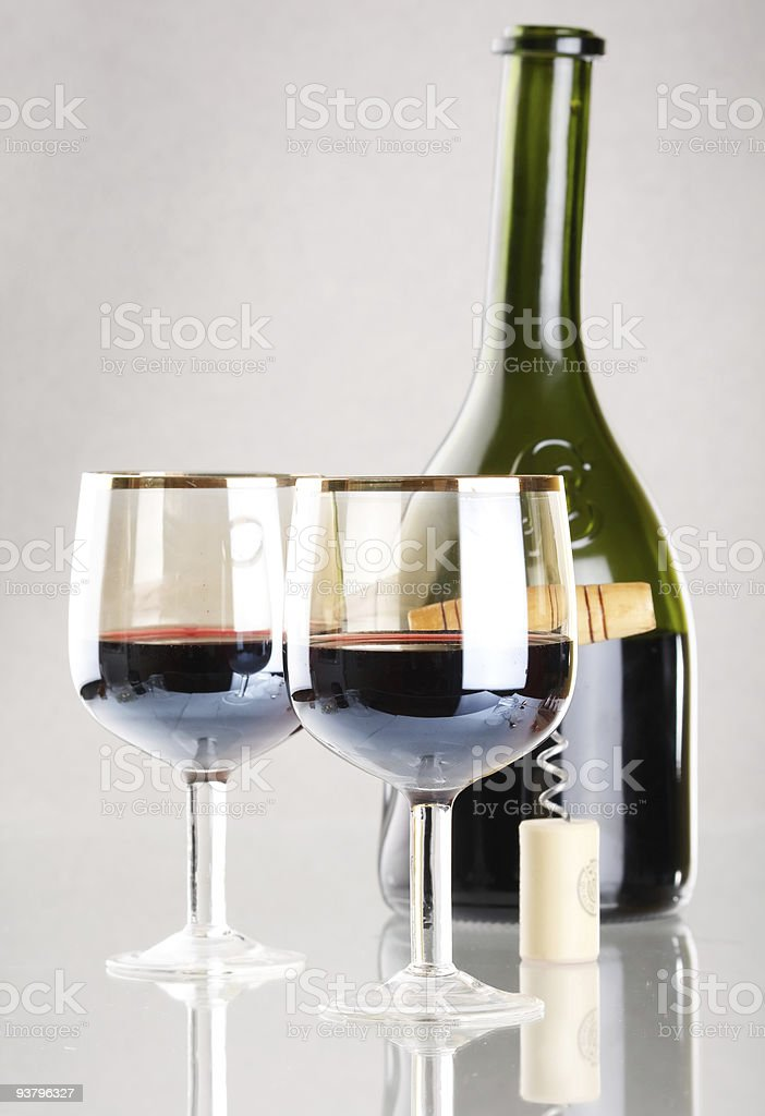 red wine with glass and bottle royalty-free stock photo