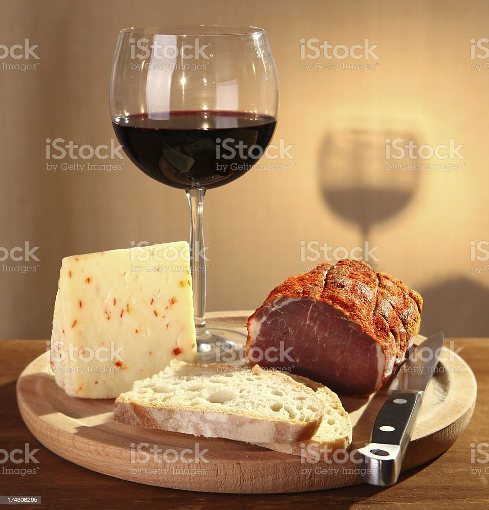 Red wine with italian cheese and capocollo stock photo