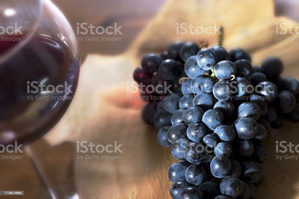 Red Wine with Shiraz Grapes royalty-free stock photo