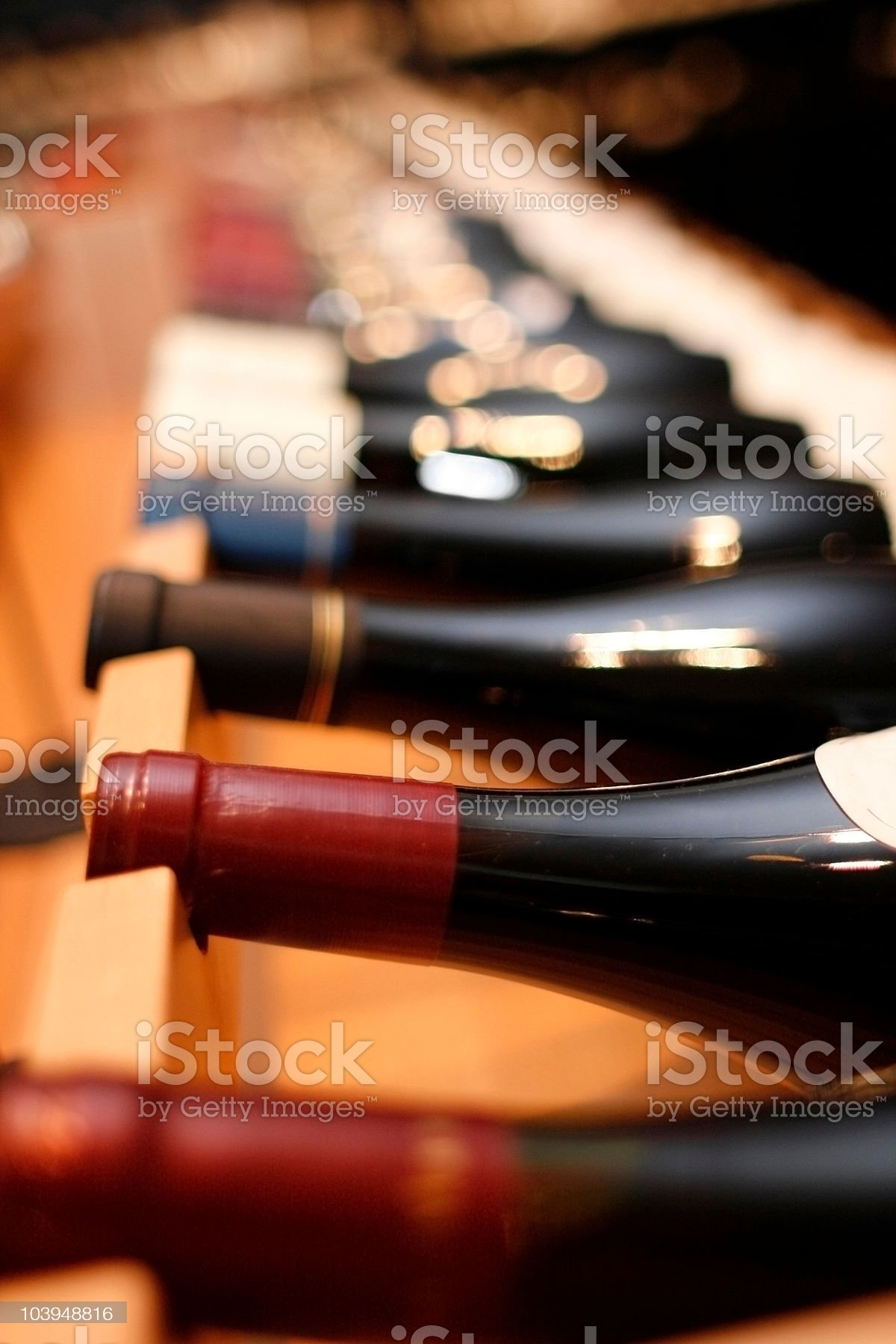 Red Wines on Wine Rack - Shallow Focus royalty-free stock photo