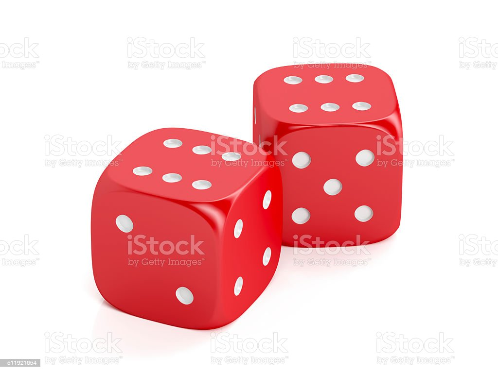 Red winning dices stock photo