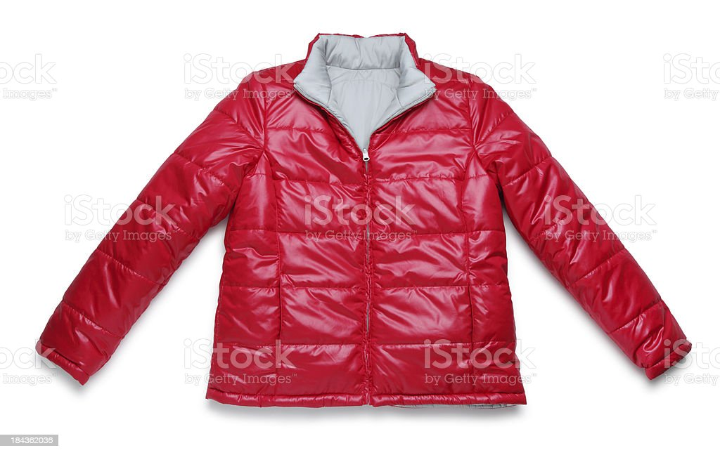 Red Winter Jacket on White stock photo
