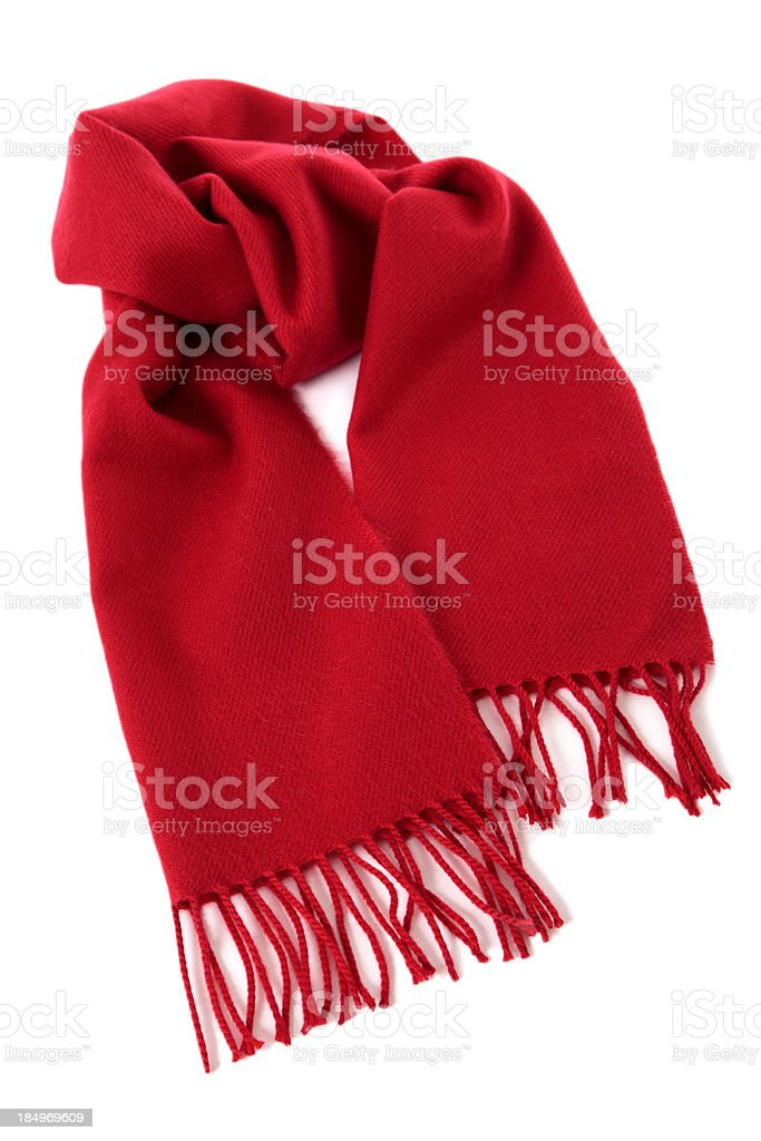 Red winter scarf stock photo