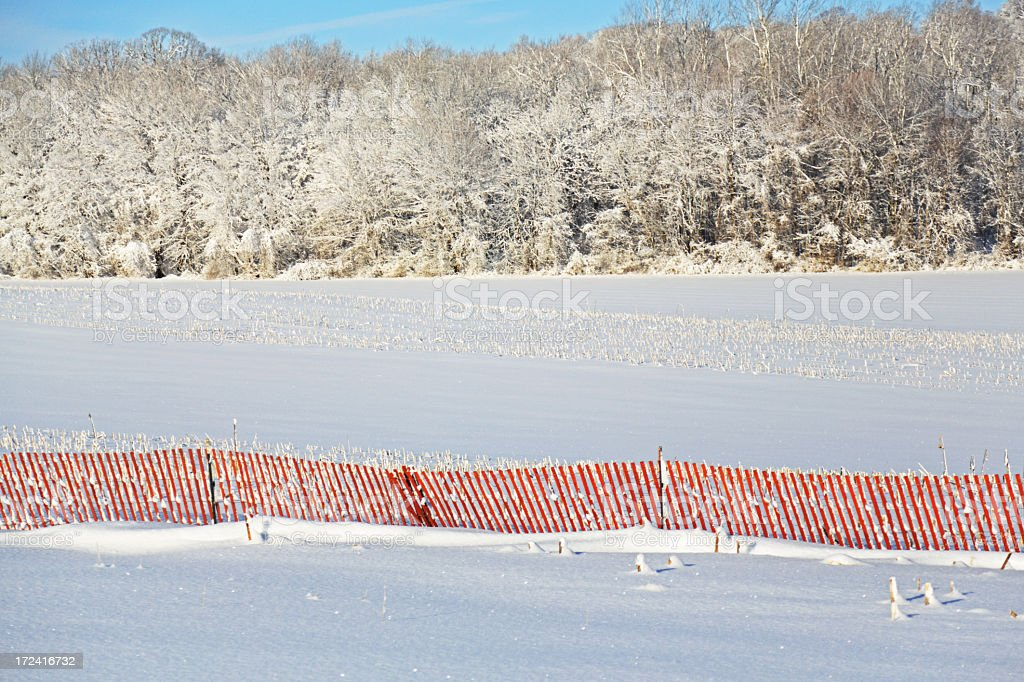 Red Winter Snow Fence royalty-free stock photo