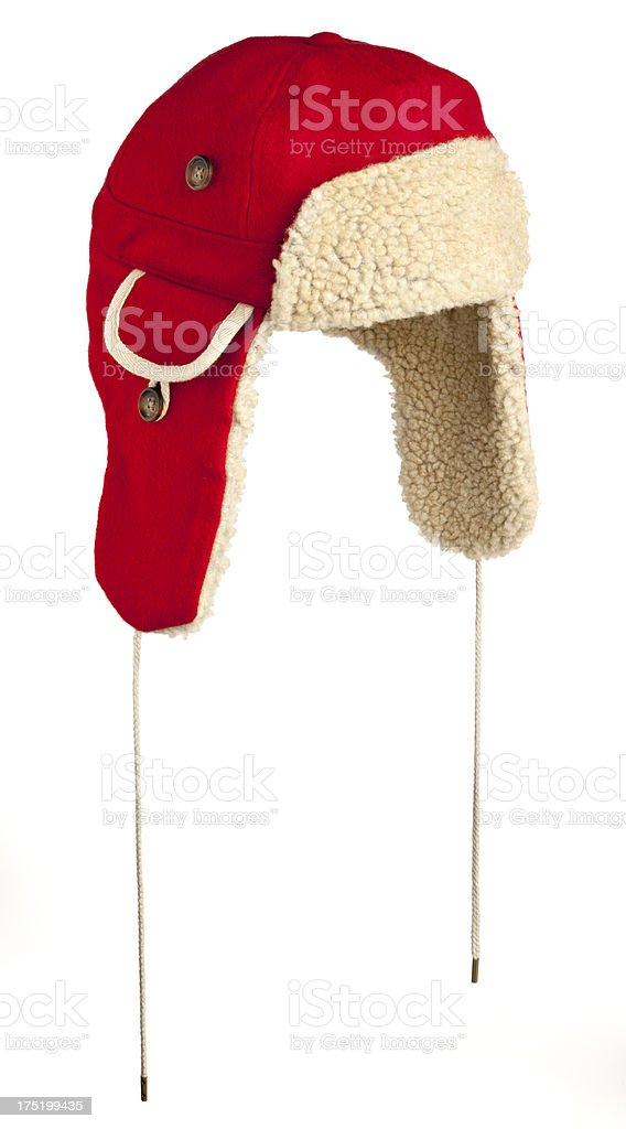 Red Winter Trappers Hat with Ear Flaps stock photo