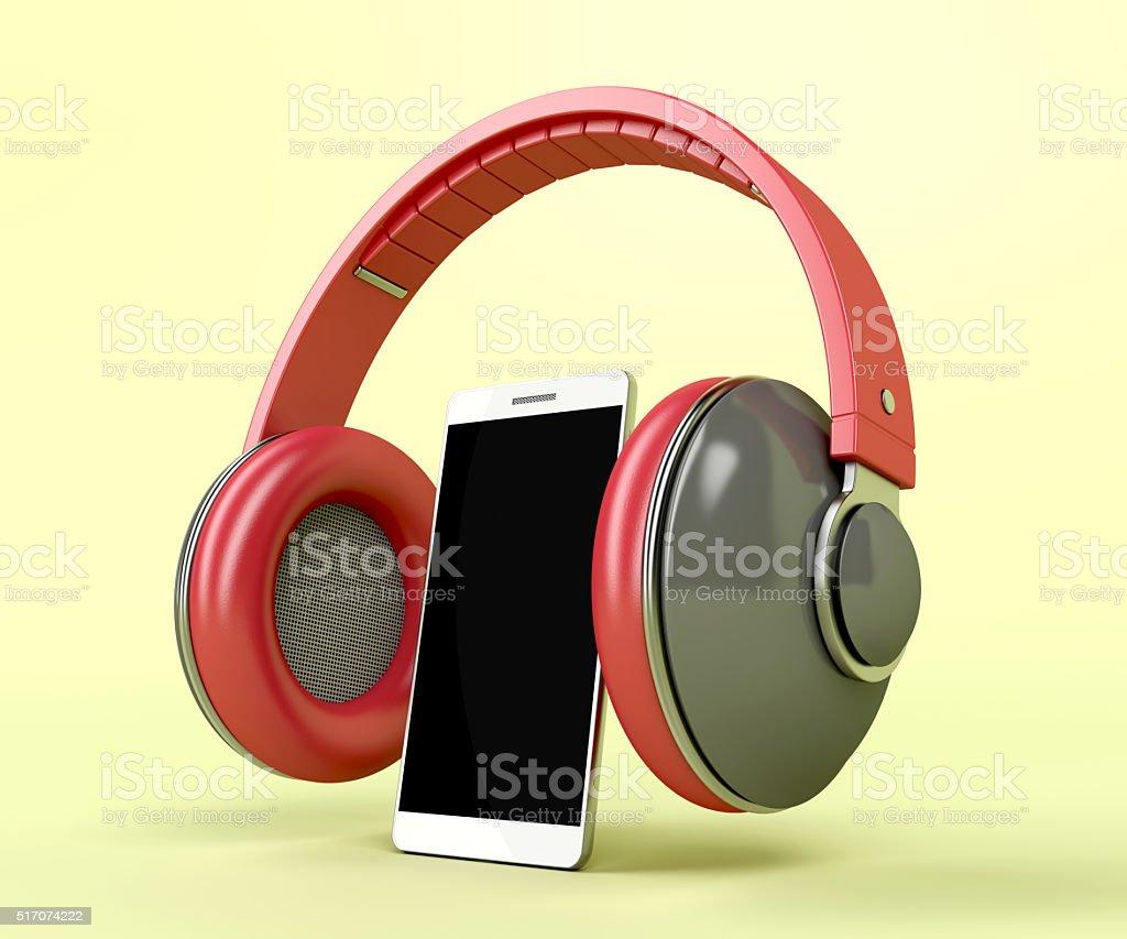 Red wireless headphones and smartphone stock photo