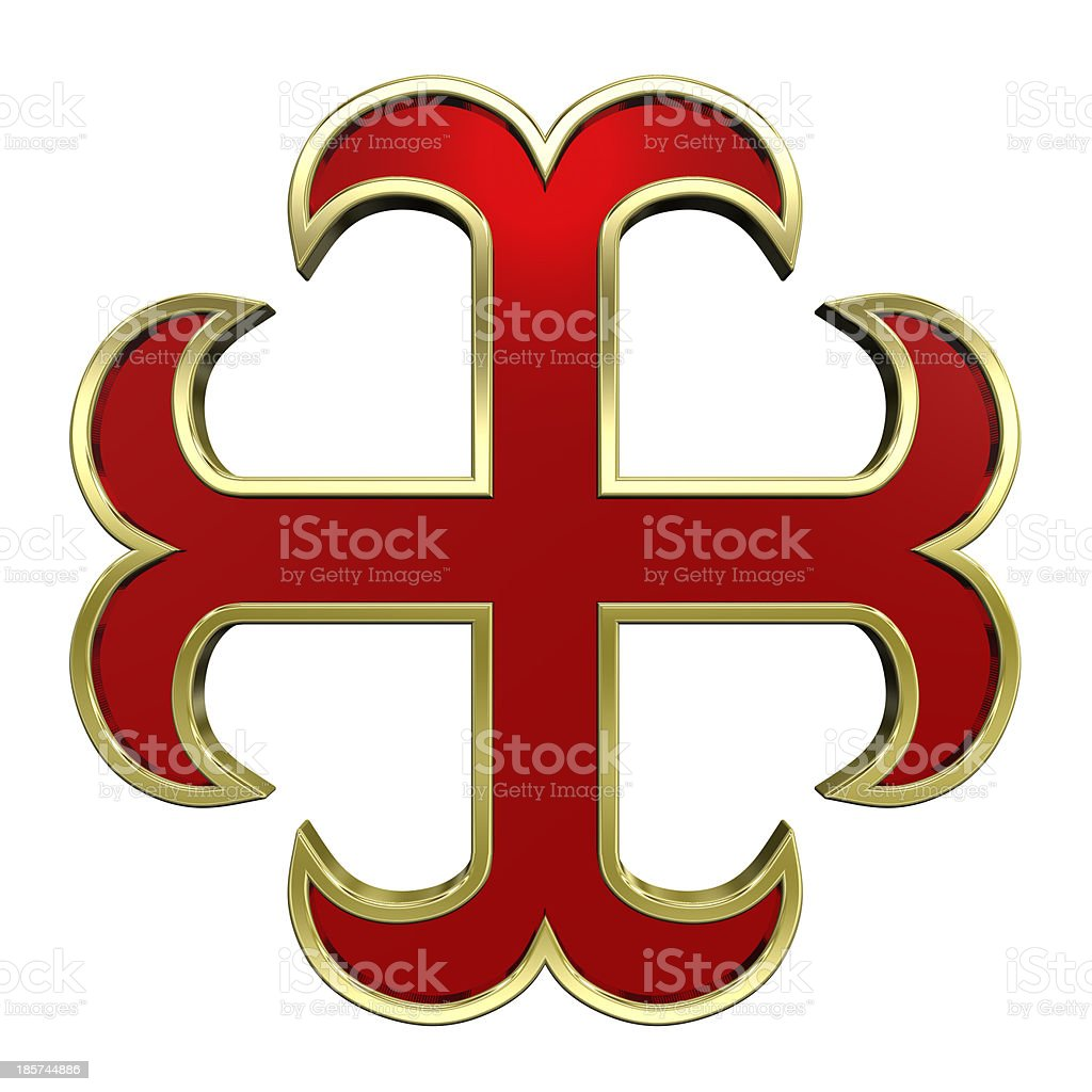 Red with gold frame heraldic cross isolated on white. royalty-free stock photo