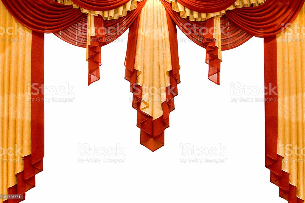 red with gold stage curtain royalty-free stock photo