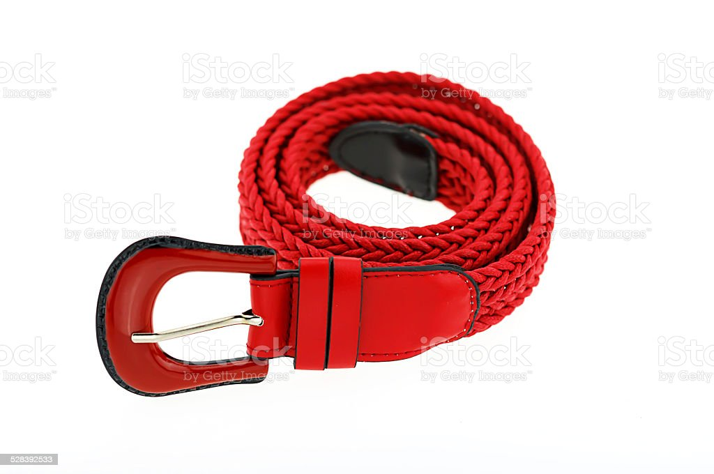red woman crochet belt isolated on white background stock photo