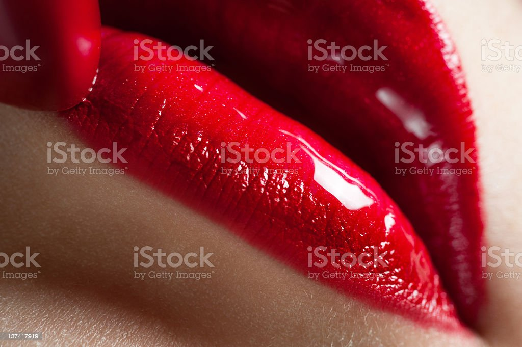 Red woman lips close-up royalty-free stock photo
