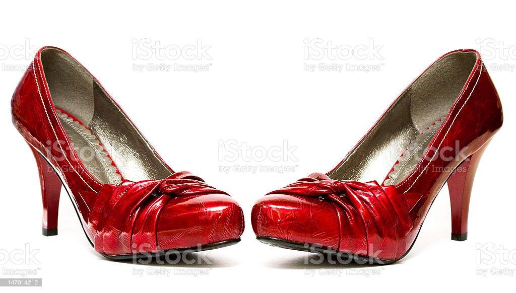 womanish sapatos isolados vermelho sobre fundo branco foto de stock royalty-free