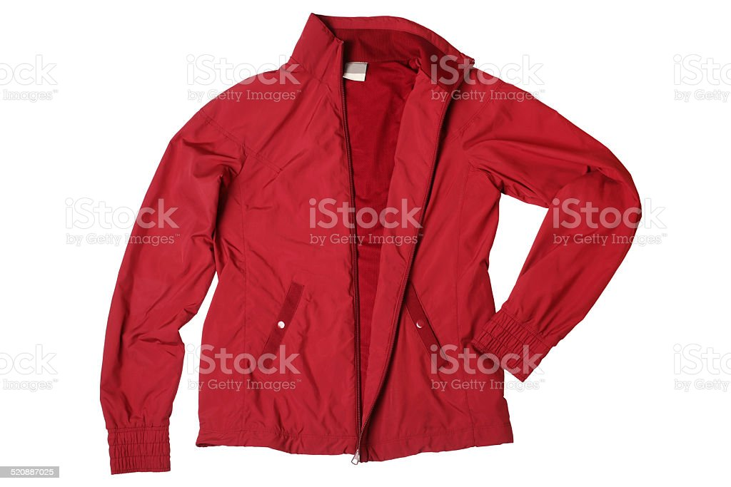 Red woman's sports jacket stock photo