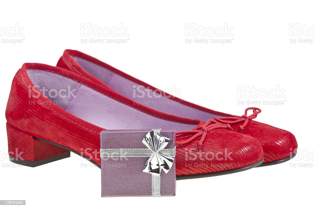 red women shoes with gift box stock photo