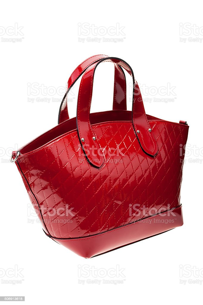 Red womens bag isolated on white background. stock photo