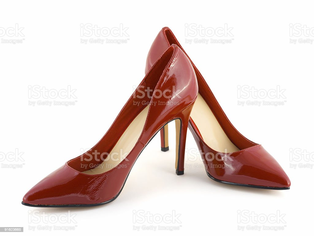 Red women's heels isolated on white stock photo