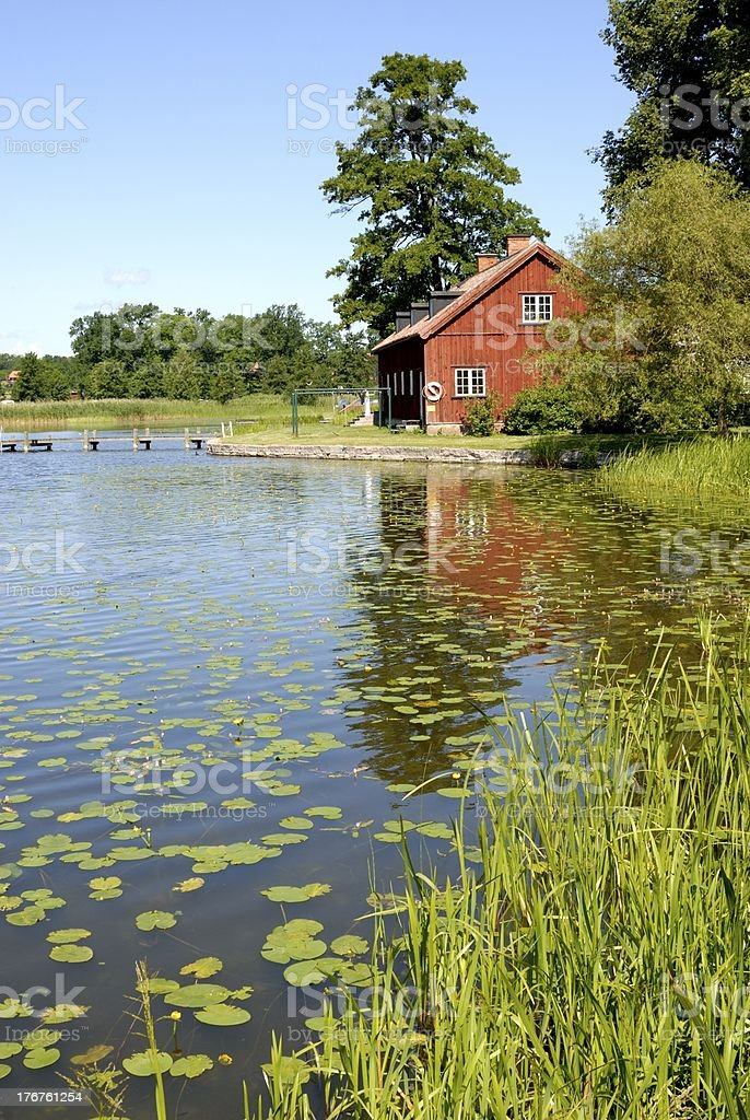red wood house in Mariefred royalty-free stock photo