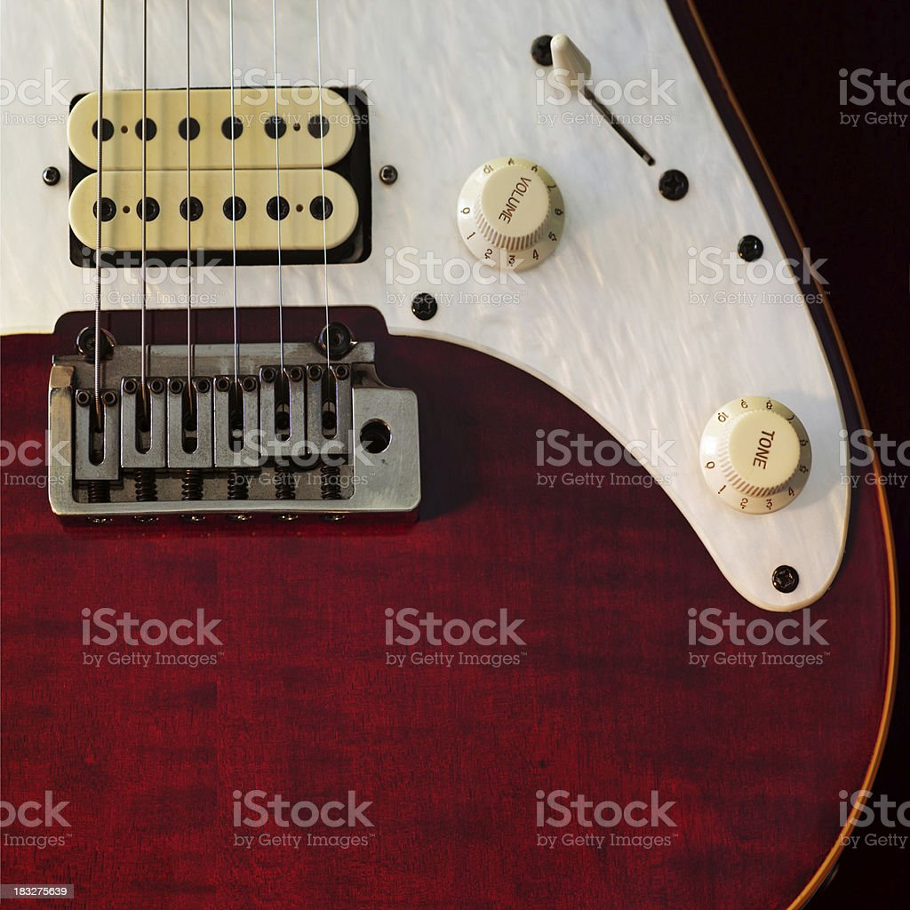 Red Wood Textured Guitar stock photo