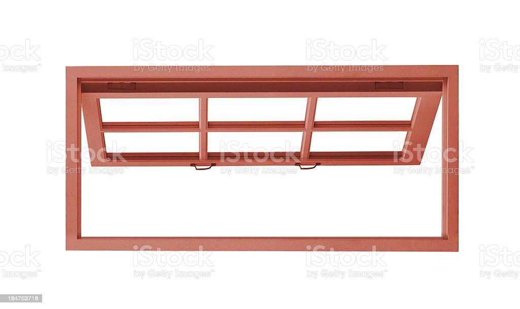 Red wood window opened stock photo