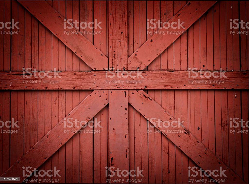 Red Wooden Barn Door stock photo