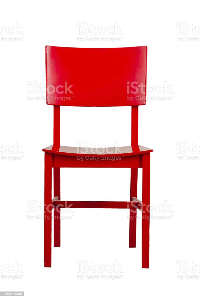 Red wooden chair isolated on white background stock photo