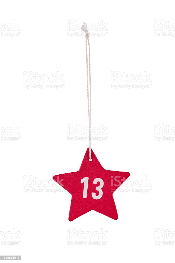 Red wooden Christmas star white number 13 string clipping path stock photo