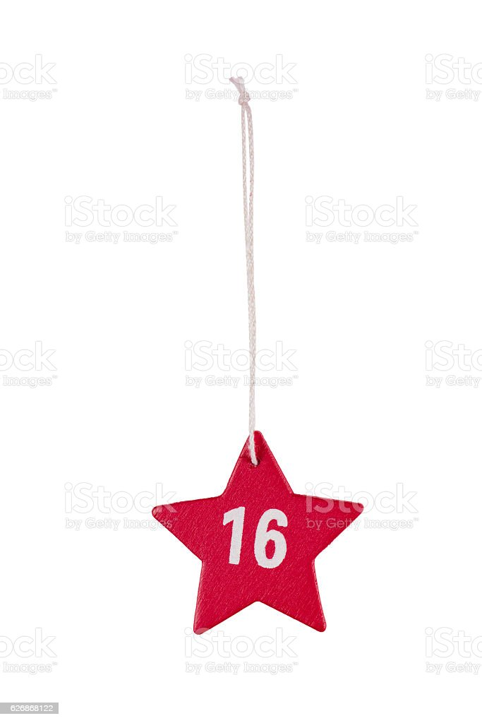 Red wooden Christmas star white number 16 string clipping path stock photo
