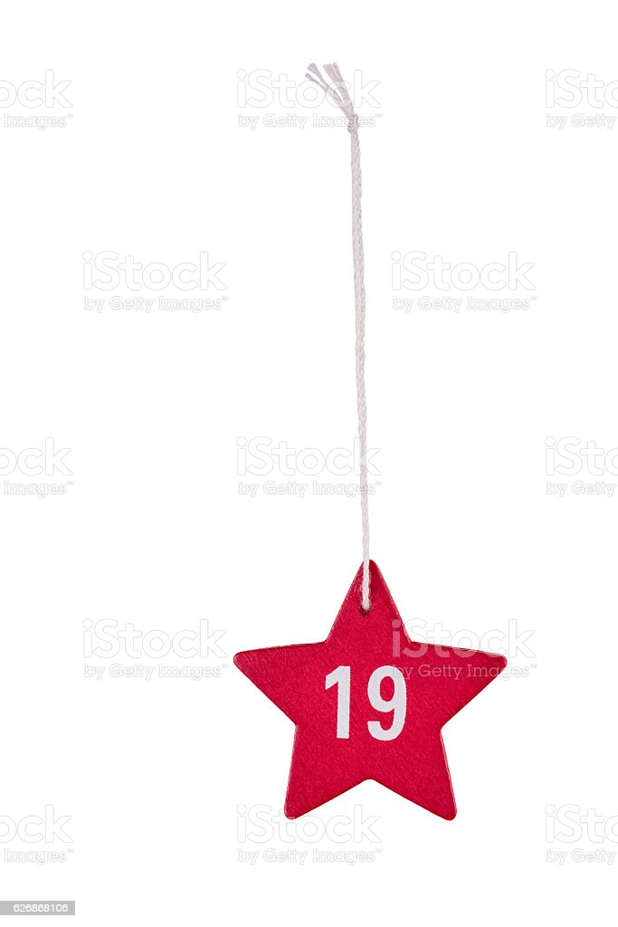 Red wooden Christmas star white number 19 string clipping path stock photo