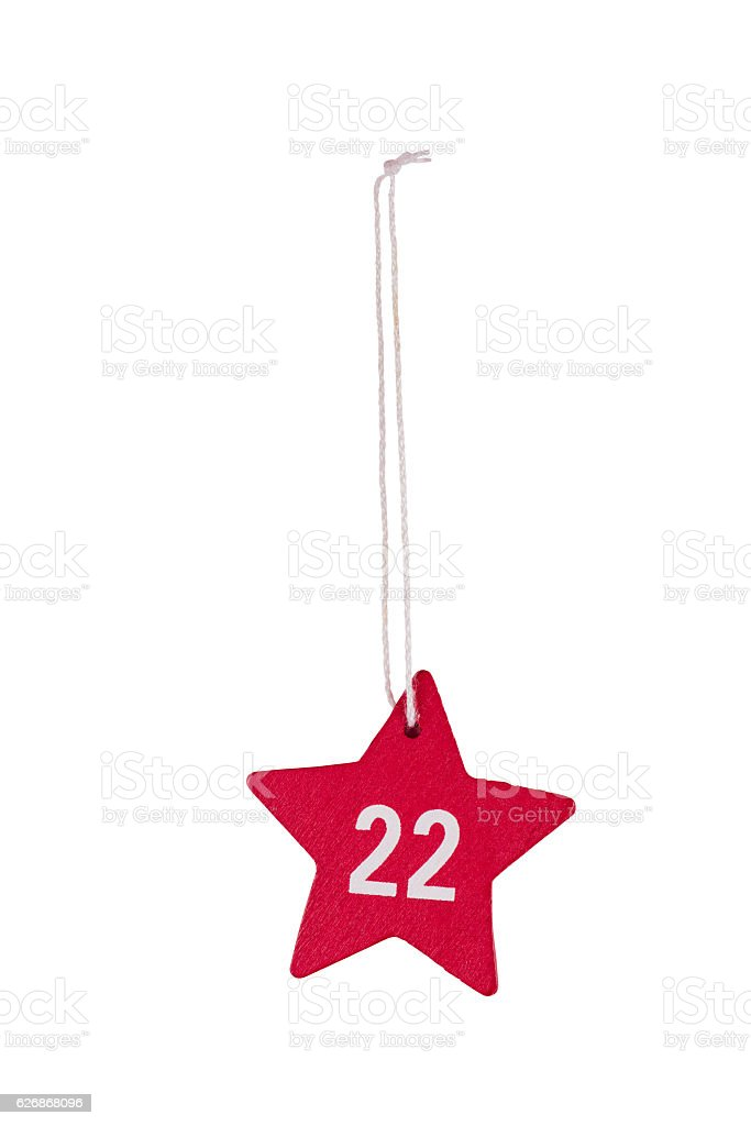 Red wooden Christmas star white number 22 string clipping path stock photo