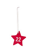 Red wooden Christmas star white number 22 string clipping path