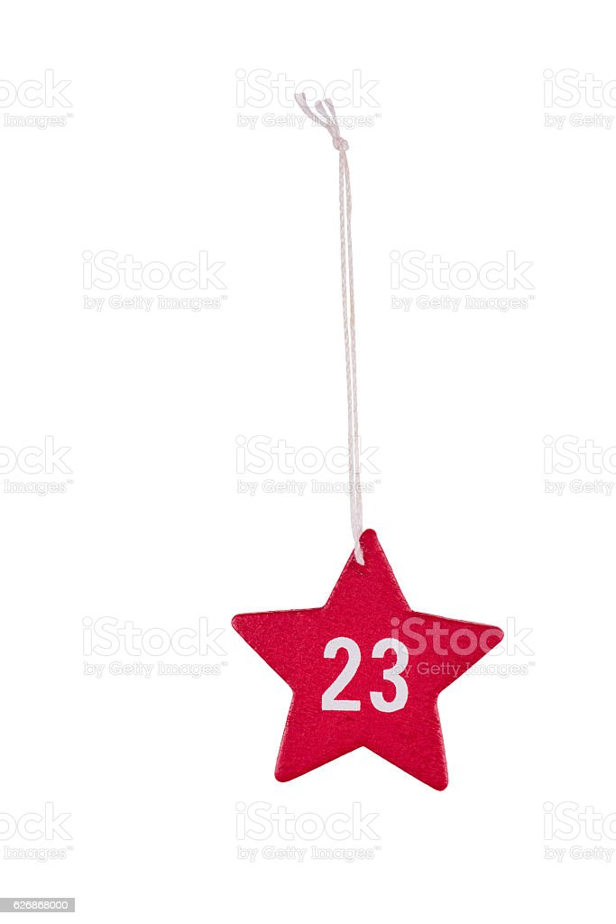 Red wooden Christmas star white number 23 string clipping path stock photo