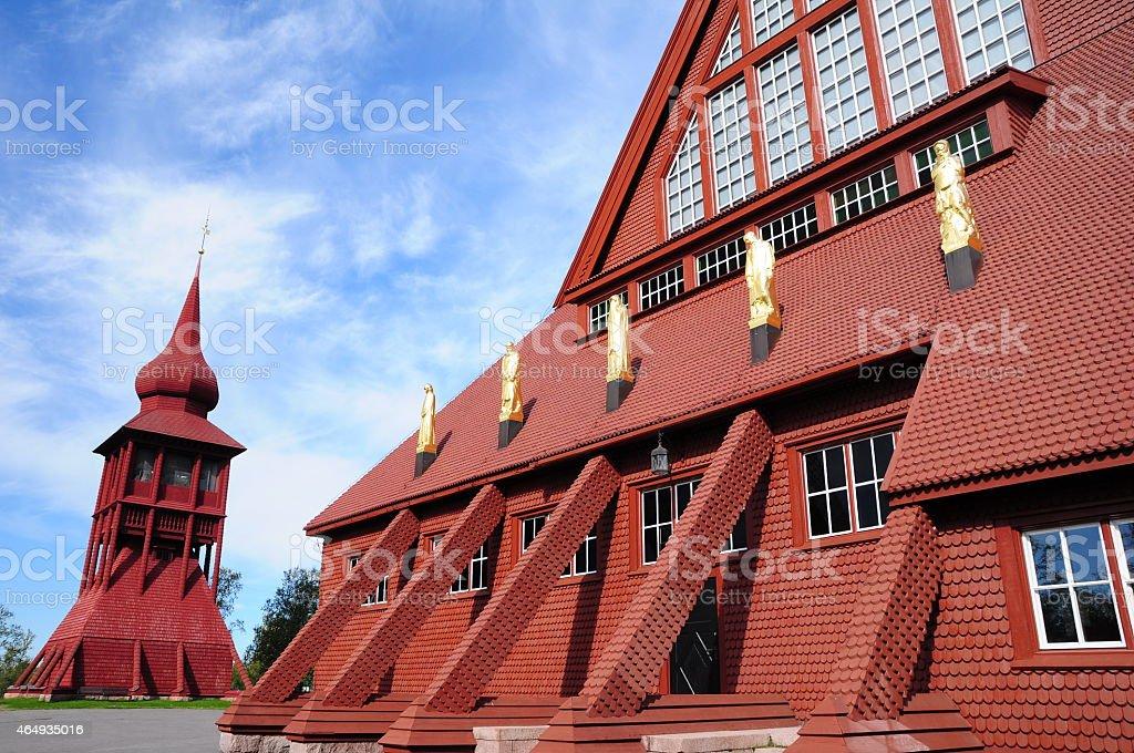 Red wooden church, Kiruna stock photo