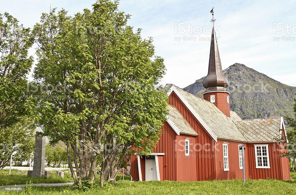 Red Wooden  Flakstad Church Lofoten Norway royalty-free stock photo