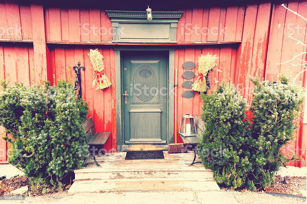 Red wooden old diner building stock photo