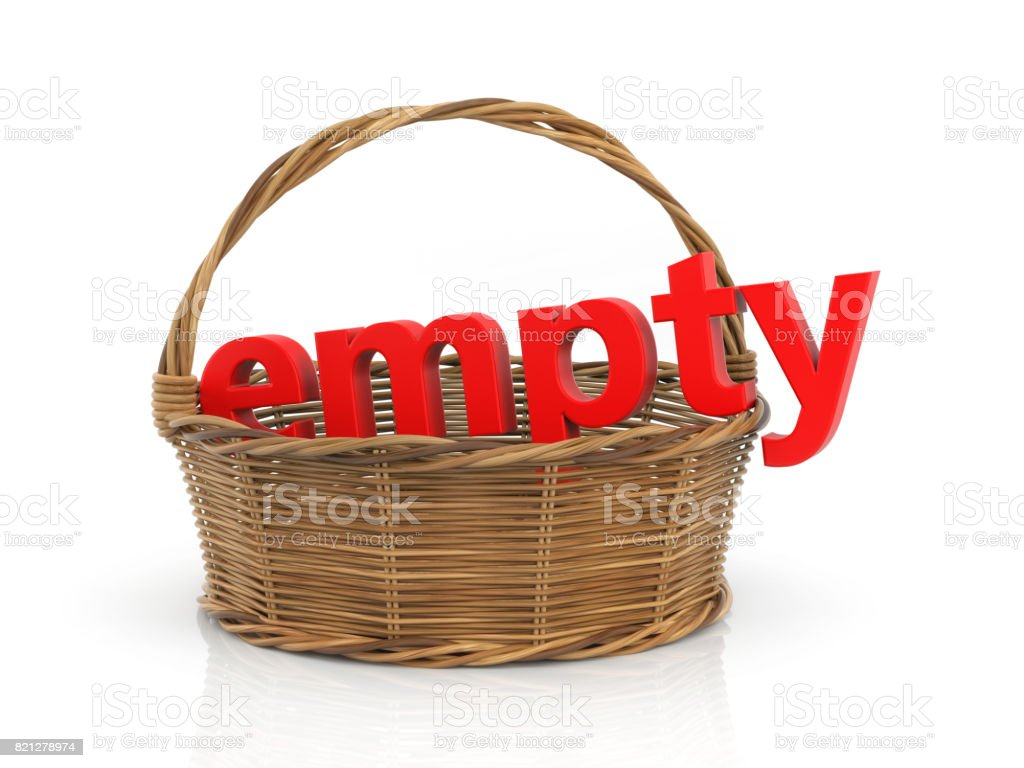 Red word EMPTY in the basket. 3d illustration stock photo