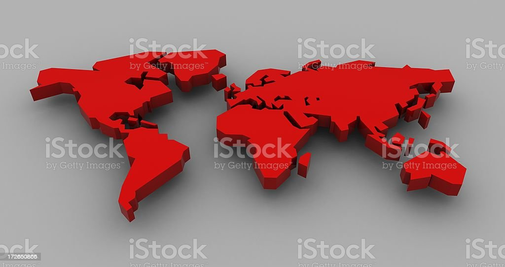 3D Red World royalty-free stock photo