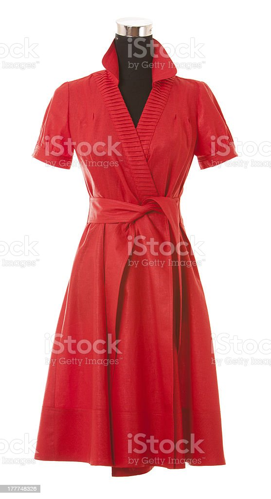 Red wrap around knee length short sleeved dress stock photo