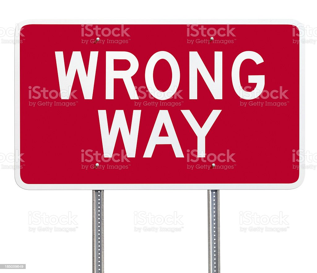 Red Wrong Way Road Sign Post Isolated on White stock photo