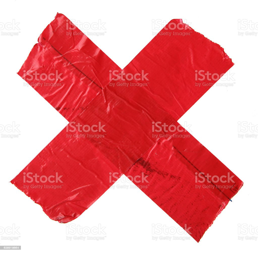 Red X made out of tape stock photo