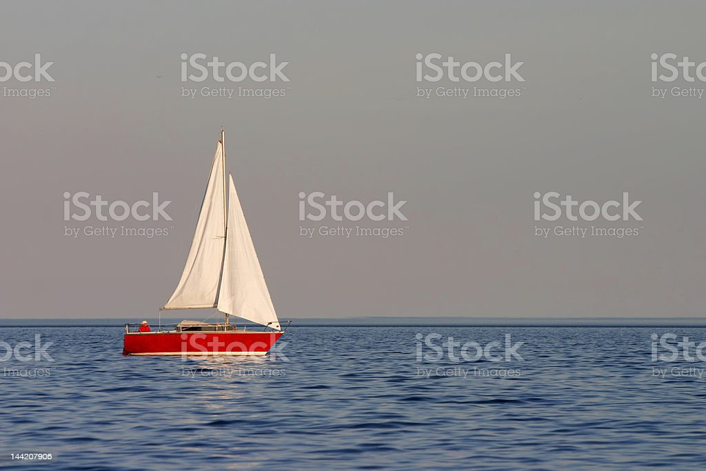 red yacht stock photo